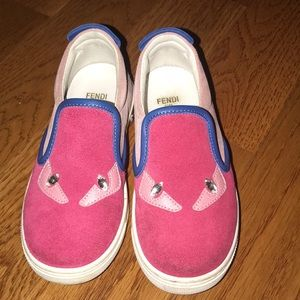 Authentic crystal eyed toddler Fendi shoes